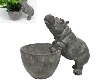 Hippo Statue Planter Pot Flowers Plants Indoor Outdoor Use