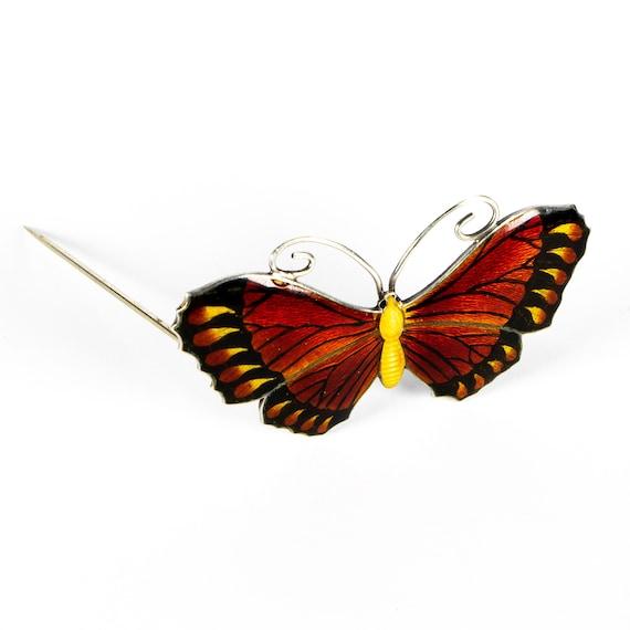 Art Nouveau Enamel Silver Butterfly Brooch Birming