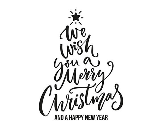 We Wish You A Merry Christmas Vector Christmas Tree Etsy