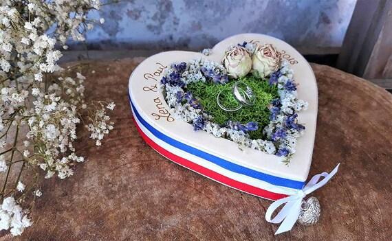 für Eheringe mit Namen beleuchtet Hochzeit Ringkissen Herz Mille Fleurs Mix