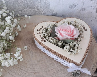 Wedding Ring Pillow Ring Holder Heart Rose Loveliness Pink for Wedding Rings with Name