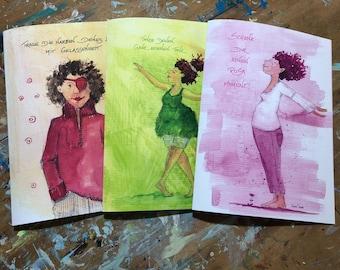 Three insert folders - paperwork girls for A4