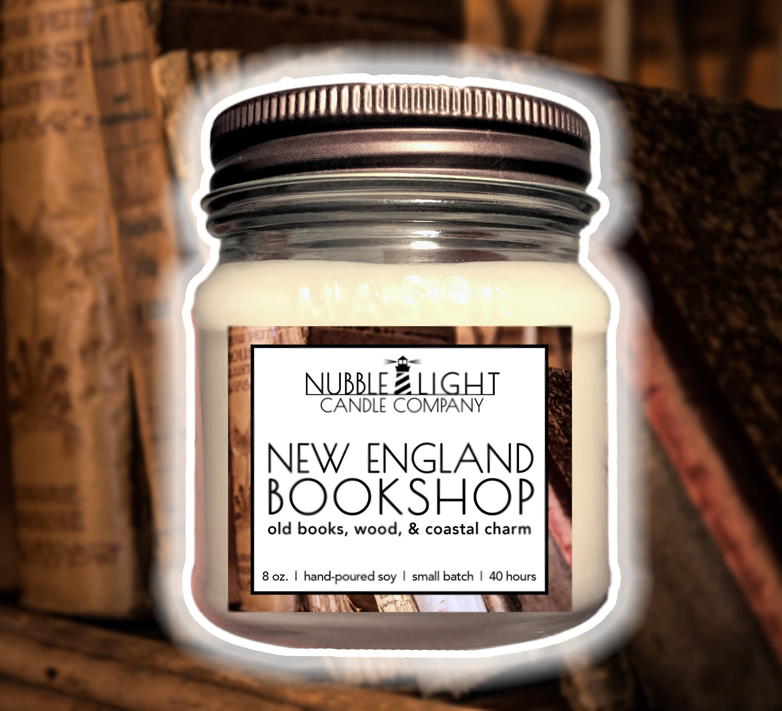 New England Bookshop candle