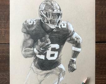 SAQUON BARKLEY DRAWING | Saquon Barkley New York Giants Original Artwork - Graphite Drawing by Artist Mike O'Brien | Wheelhouse Art