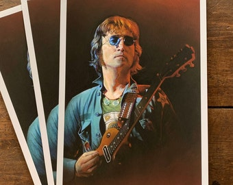 John Lennon Beatles Limited Edition Fine Art Print - 12x18 Giclee Print Signed by the Artist