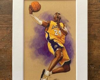 Kobe Bryant Los Angeles Lakers NBA Art Print with Matte - 4x6 Postcard Print with 5x7 matte