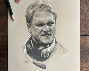 JON GRUDEN DRAWING | Jon Gruden Las Vegas & Oakland Raiders Original Artwork - Graphite Drawing by Artist Mike O'Brien | Wheelhouse Art