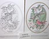 North Carolina - Black Line Drawing Limited Edition Bundle