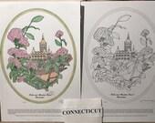 Connecticut - Black Line Drawing Limited Edition Bundle