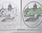 Minnesota - Black Line Drawing Limited Edition Bundle