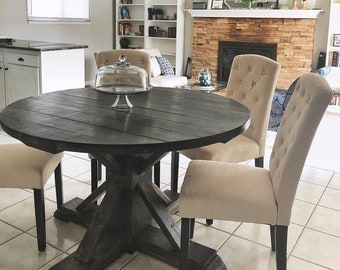 Round Farmhouse Table Etsy