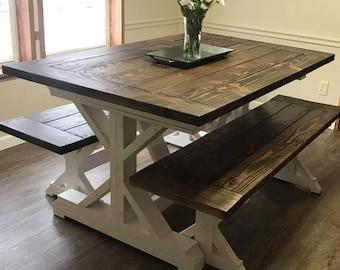 farmhouse table etsy rh etsy com farmhouse style kitchen table with bench farmhouse style kitchen table and chairs