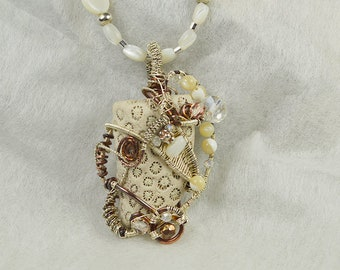 Fossil Pendant with Amber and Mother of Pearl