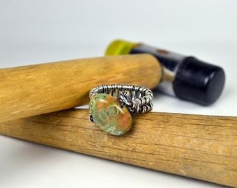 Rainforest Jasper Nugget Ring