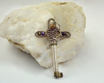 Antique Cross Key with Tiger Eye