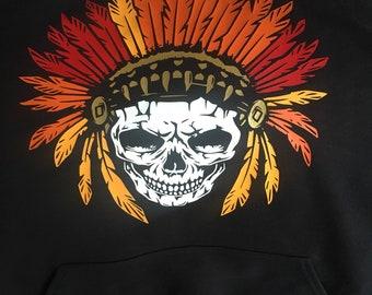 cce160f4e Men skull hoodie | Etsy