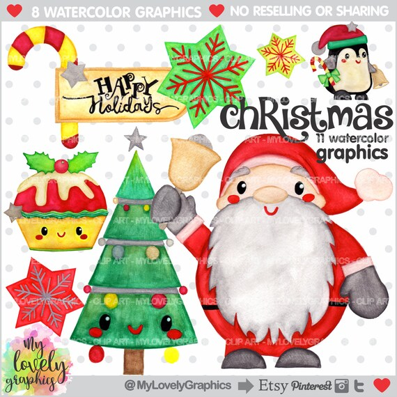 Christmas Clipart Noel Clipart Christmas Watercolor Etsy