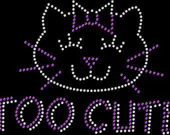d67c14885 Rhinestone Bling Sparkle Iron On Transfer DIY Too Cute Kitty Cat