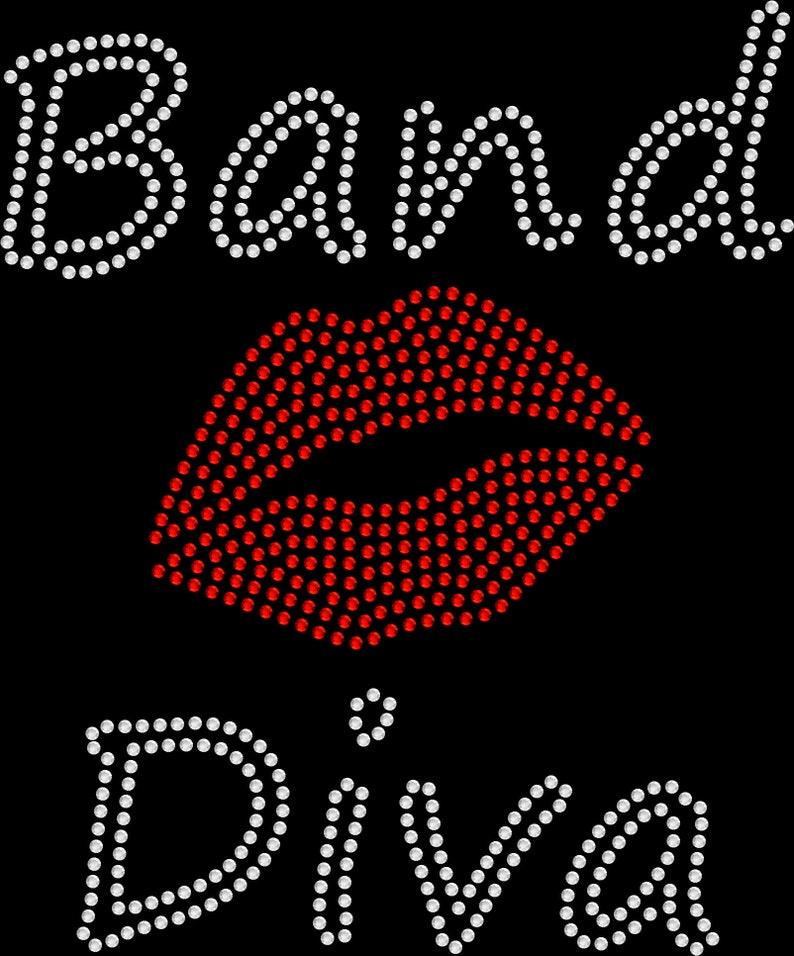 Rhinestone Bling Sparkle Iron On Transfer DIY Band Diva Red Lips