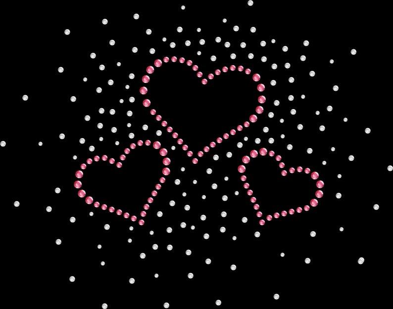 Rhinestone Bling Sparkle Iron On Transfer DIY Pink Hearts Sparkle