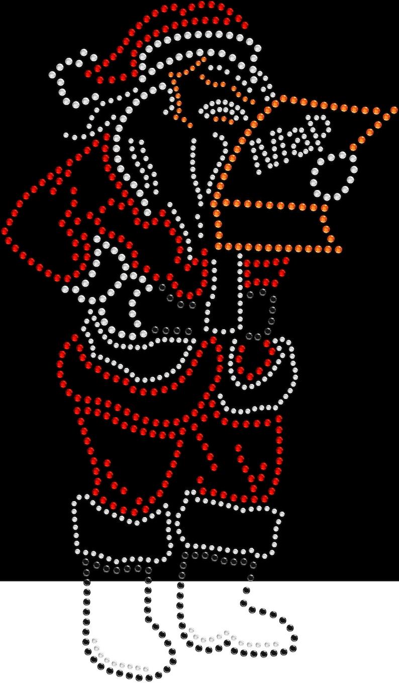 Rhinestone Bling Sparkle Iron On Transfer DIY Christmas Lost Santa Claus