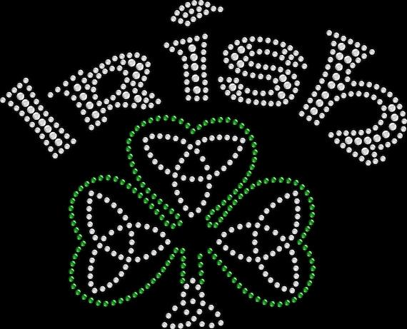 Rhinestone Bling Sparkle Iron On Transfer DIY Love Red Heart to be Irish