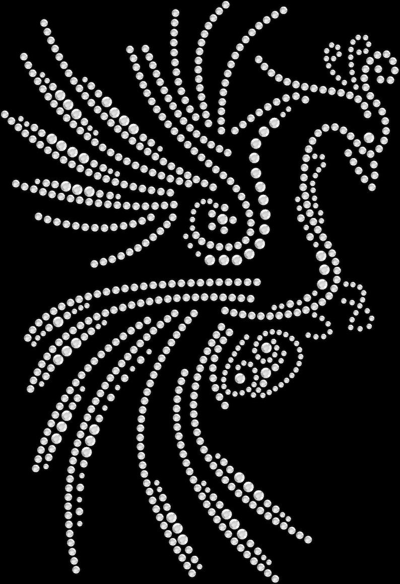 Rhinestone Bling Sparkle Iron On Transfer DIY Phoenix Bird White Crystal