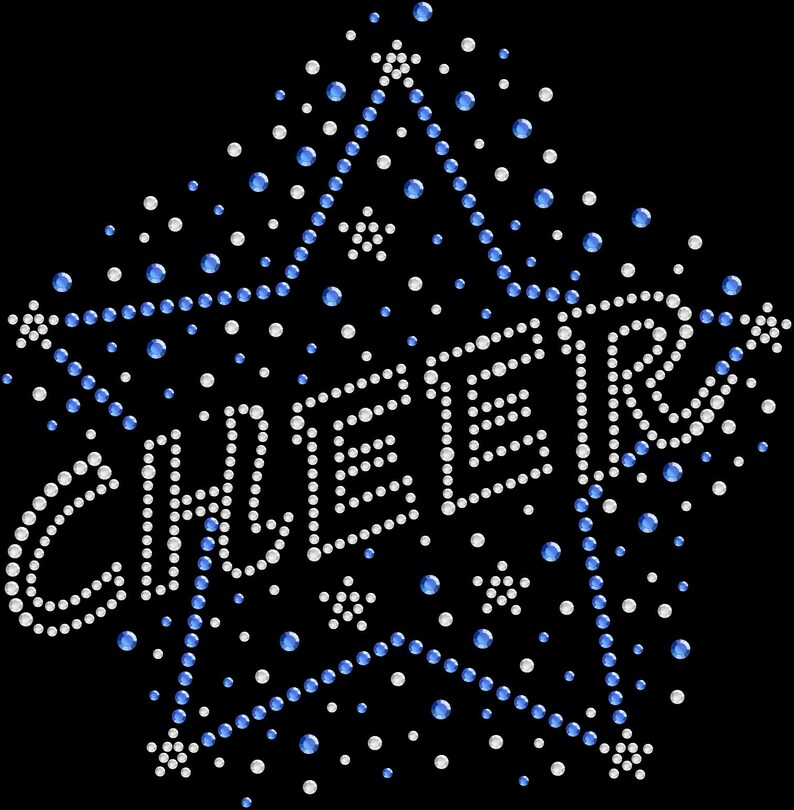 Rhinestone Bling Sparkle Iron On Transfer DIY Cheer Star Cheerleading Blue