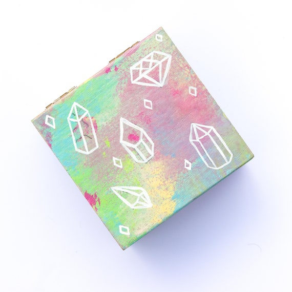 Hand Painted Small Wooden Jewellery, Gift, Storage Box - Crystal Theme and Tie-Dye Colours - Witch Altar Box Halloween Crystals Tie Dye