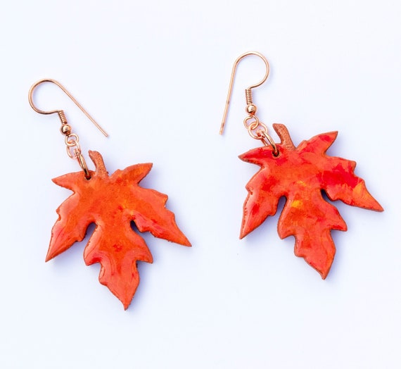 Gorgeous Bright Orange and Red Hand Painted Wooden Leaf Charm Earrings. Clip Ons, Sterling Silver, Pure Copper. Autumn Fall Jewellery
