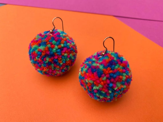 Rainbow Pom Pom statement Earrings in two sizes with pure Copper findings. Gifts for her.