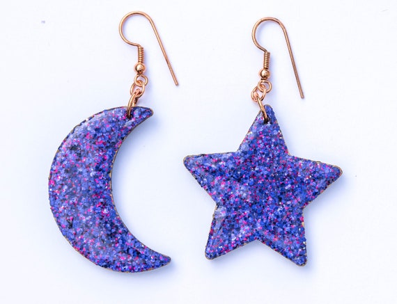 Large Glitter Purple Statement Wooden Star and Moon Charm Earrings. Halloween, Witch Jewellery custom hardware clip ons, copper, silver.