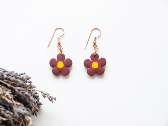 Dainty Floral Wooden Hand Painted Earrings in Pomegranate. Very lightweight and custom hardware. Ideal gift for wildlife or garden lover