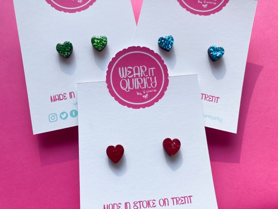 Teeny Tiny Small Wooden Heart Studs in hand painted Glitter Colours - Pink, Purple, Green, Red, Blue with Stainless Steel Posts