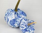 Light Blue Floral Pumpkin with Real Stem