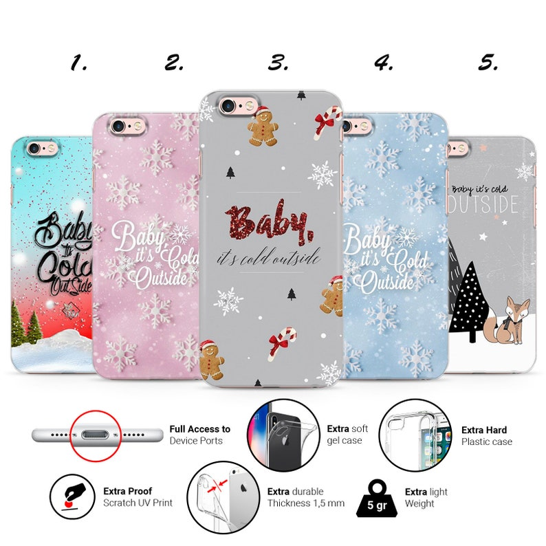 huge selection of 4472d 47b47 CHRISTMAS XMAS GIFT baby it's cold outside quotes snow cute design thin uv  gel silicone phone case cover for iPhone 5 6 7 8 X Xs Xr Xs Max