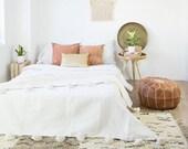 Hot selling Beautiful Moroccan Pompom Blanket, Pom Poms, Boho Blanket, Bed Cover White with White Pompom