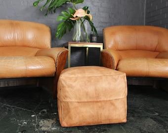 Leather Ottoman Etsy - Tan leather ottoman coffee table