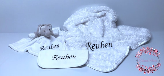baby gift embroidered baby blanket personalised Blanket comforter and bib set