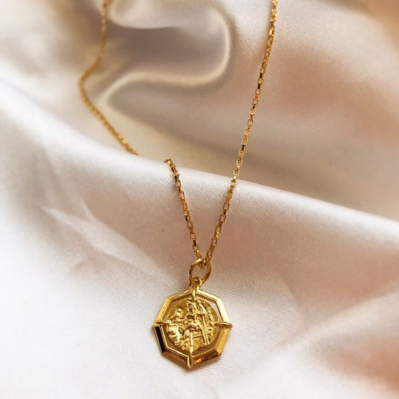 2d9c30f071060 Dainty medallion necklace/gold coin necklace/ vintage coin  necklace/delicate 14k gold necklace/layered necklace/gold medallion necklace