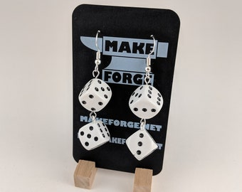 Dice Earrings, Handmade, D6 4 white dice with black pips, silver fishhook earring