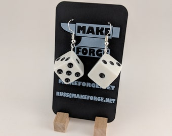 Dice Earrings, Handmade, D6 white square dice with black pips, silver fishhook earring