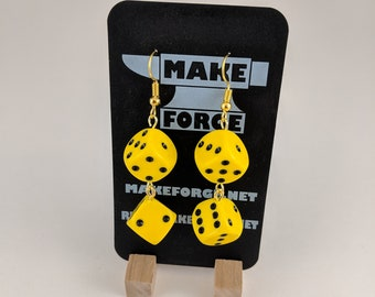 Dice Earrings, Handmade, D6 4 yellow dice with black pips, golden fishhook earring