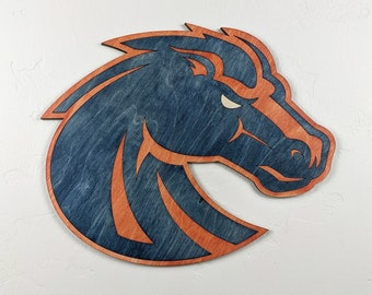 Boise State University Bronco Wood Sign Wall Art