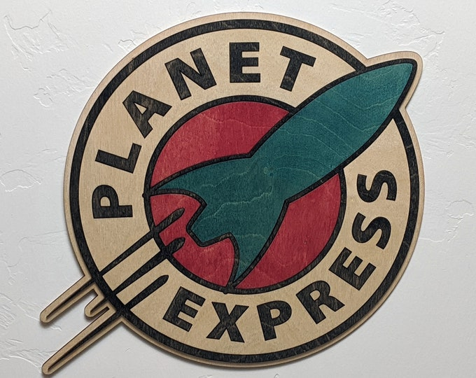 Featured listing image: Planet Express Wood Sign Wall Art