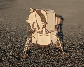Lunar Lander Module, Laser Cut Wood Model, 140 pieces.