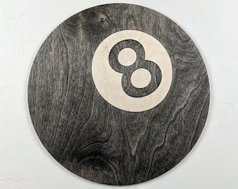 8-Ball Wood Sign Wall Art