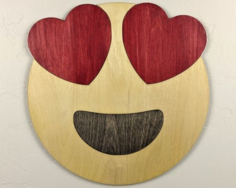 Emoji Smiley with Heart Eyes Wood Sign Wall Art