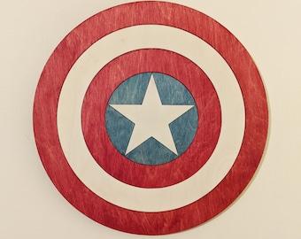 Captian America Shield Wood Sign Wall Art