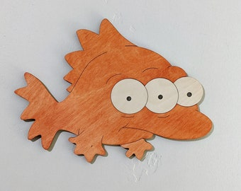 Blinky the 3 eyed fish Wood Sign Wall Art